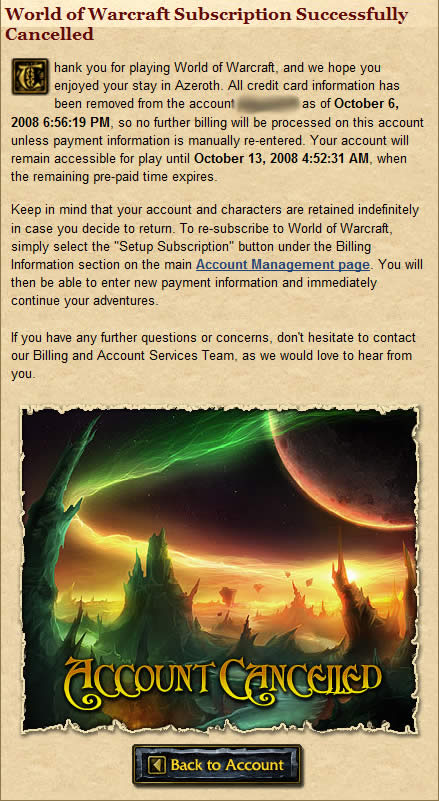 World of Warcraft Subscription Successfully Cancelled